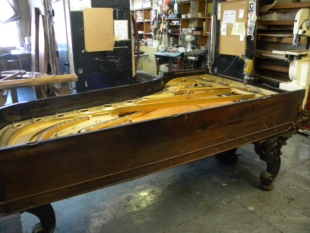 Steinway Concert Grand Piano being restored by Joe Hanerfeld